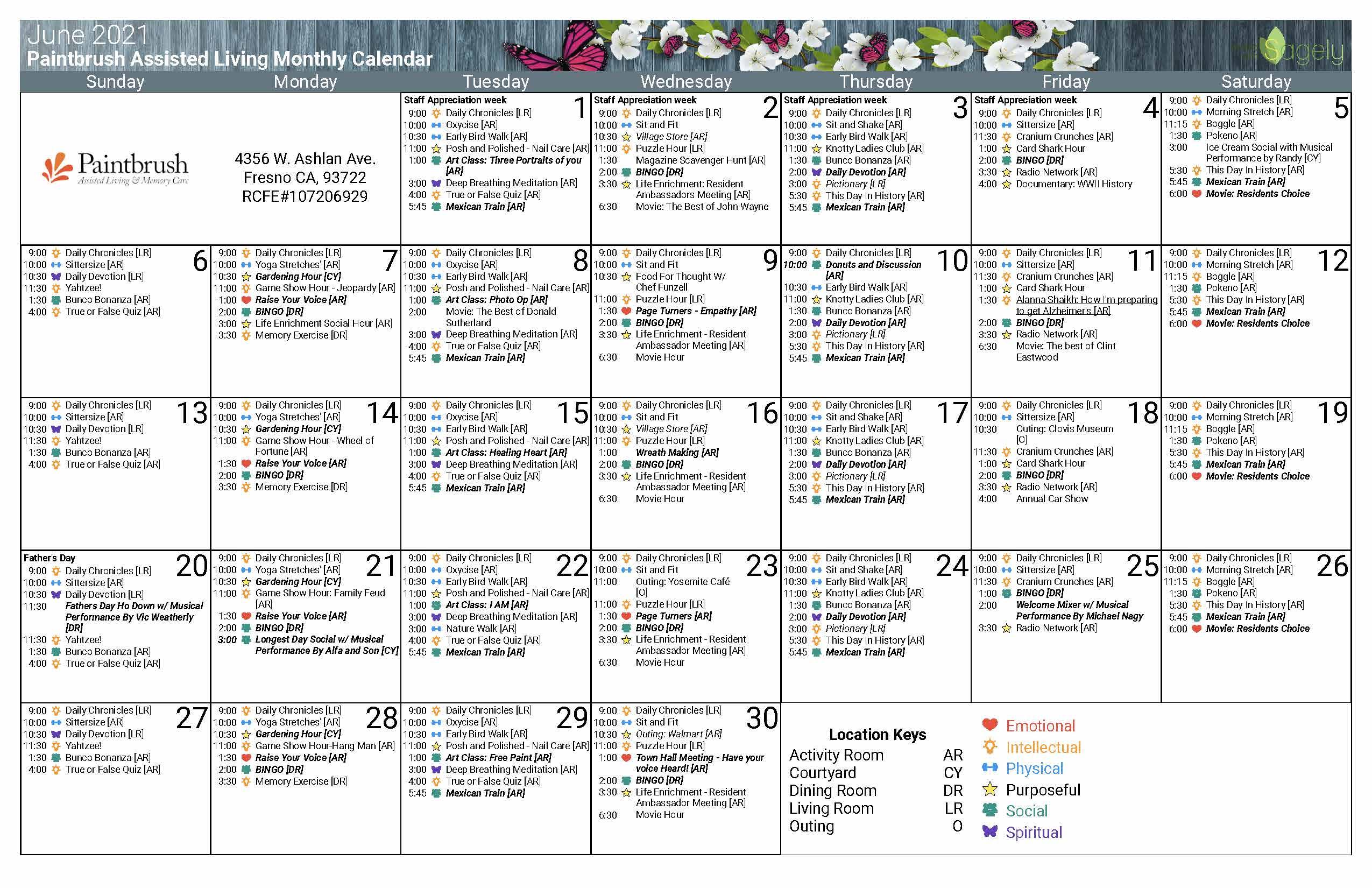 June AL calendar